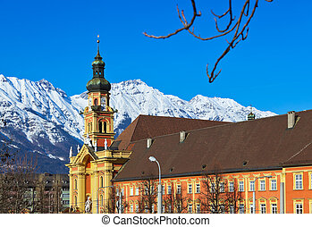 Old cathedral in Innsbruck Austria - architecture background