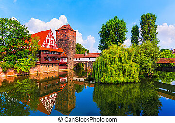 Old Town in Nuremberg, Germany - Scenic summer view of the...