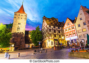 Old Town in Nuremberg, Germany - Scenic summer night view of...