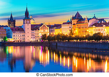 Old Town in Prague, Czech Republic - Scenic summer sunset ...