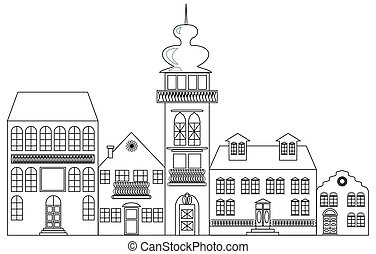 Old town monochrome drawing, architectur sketch in black...
