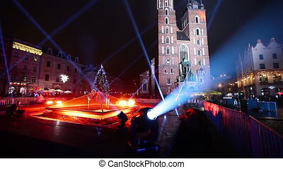 Old Town. New Year's Eve in Krakow, Poland