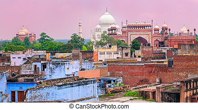 Old town of Agra with Taj Mahal, India - Old town of Agra...