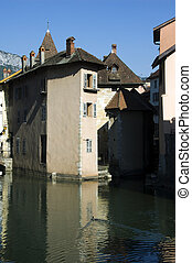 Old town of Annecy - Mediaval buildings on small island and...