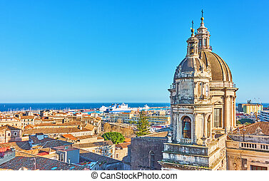 Old town of Catania - Mediterranean sea and panorama of the...