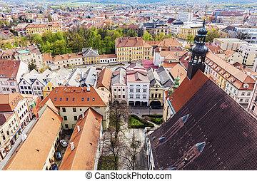 Old town of Ceske Budejovice - aerial photo. Ceske Budejovice, South Bohemia, Czech Republic.