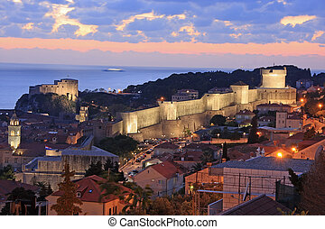 Old town of Dubrovnik at night, Croatia