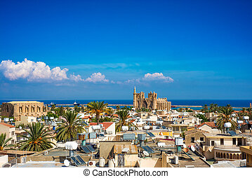 Old town of Famagusta (Gazimagusa), Cyprus. High elivated ...