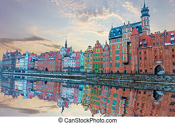 Old Town of Gdansk, view from the Motlawa river, Poland