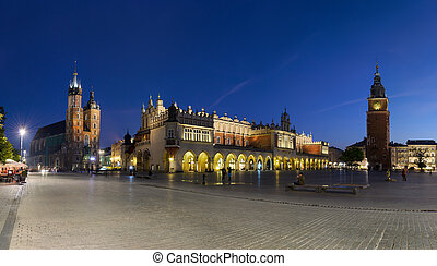 Old Town of Krakow at night in Poland