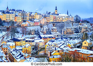Luxembourg city snow white in winter, Europe - Old town of...
