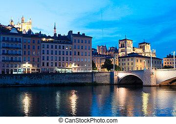 Lyon, France in a beautiful summer night