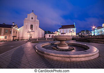 Old Town of Minsk, Belarus in the sunset