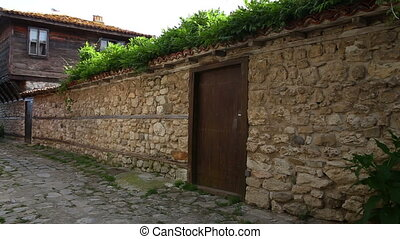 old town of nessebar and old stone wall