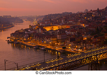 old town of Oporto at sunset, Portugal - beautiful panorama...