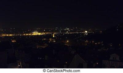Old town of Prague at night, Czech Republic. 4K overview pan shot