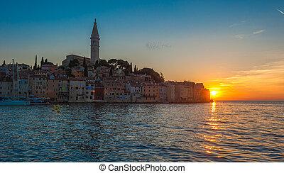 Old town of Rovinj at sunset, Istrian Peninsula, Croatia