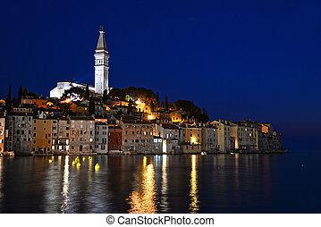 Old town of Rovinj on Istrian peninsula, Croatia by night