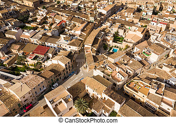 Old town of Santanyi in Mallorca, Spain, view from drone