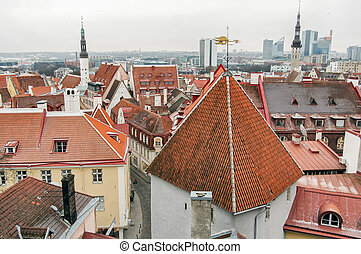 Old Town Of Tallinn Rooftops, Estonia - Aerial view of the...