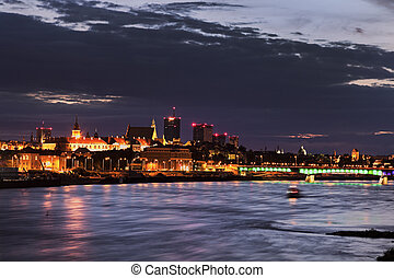 Old Town of Warsaw accross Vistula River at sunset