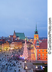Old Town of Warsaw at Dusk