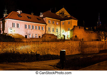 Old Town of Warsaw City by Night in Poland