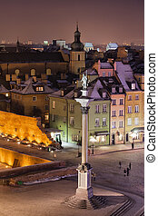 Old Town of Warsaw in Poland by Night