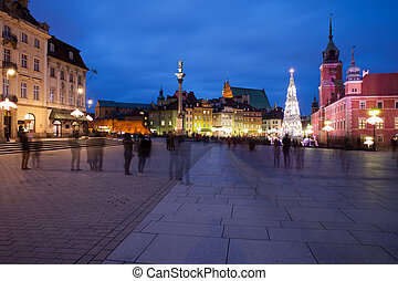 Old Town of Warsaw Skyline by Night