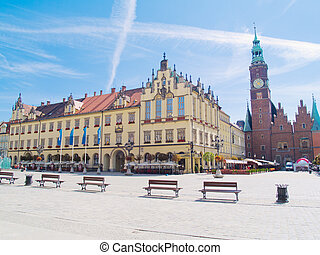 city hall at market square (rynek) in Wroclaw, Poland