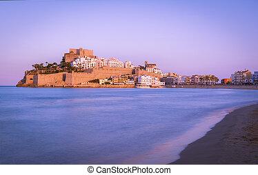 castle of Peniscola, located on Costa del Azahar in the Castellon province of Spain