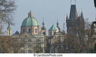 Old Town Prague Buildings - Panorama view of old buildings...
