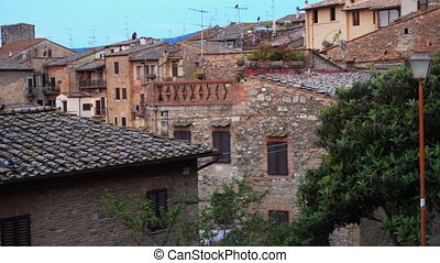 old town San Gimignano at the province of Siena. Tuscany, Italy