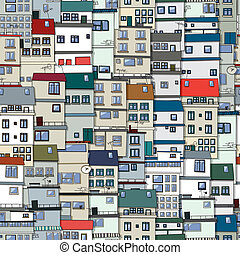 Old town seamless pattern - Small Part Of Town Ornament,...