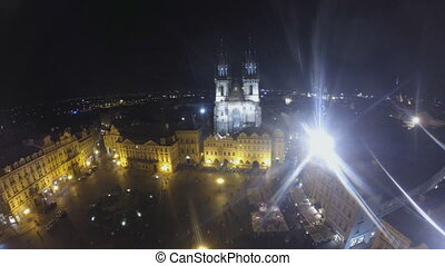 Old town square in Prague at night