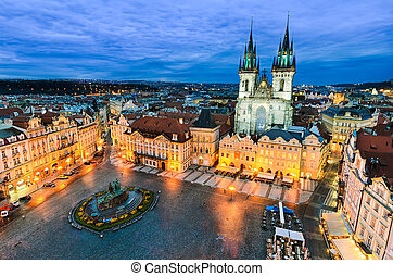 Old Town Square in Prague - The Old Town Square at night in...