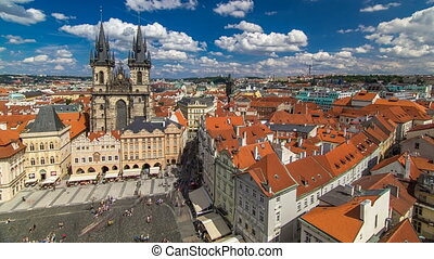 Old Town Square timelapse in Prague, Czech Republic. It is...