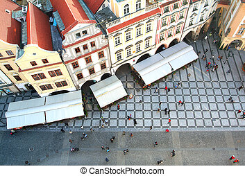 Old Town square with tourist crowd in Prague, Czech Republic, view from above