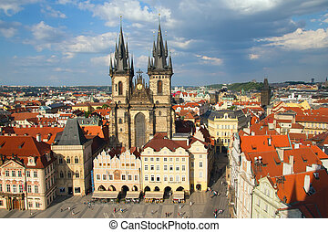 Old town square with church of Virgin Maria Before Tyn, Prague, Czech republic