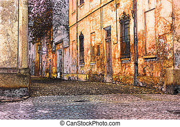 old town - sketch of urban street in old town - romantic...