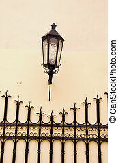 old town street fragment with lamp