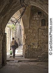 old town street in jerusalem israel