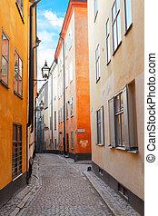 old town street in Stockholm, Sweden