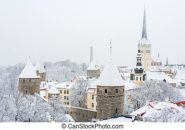 Old town. Tallinn, Estonia - Old town during a snowfall....