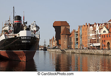 Gdansk, Poland - Old town waterfront over Motlawa river in...