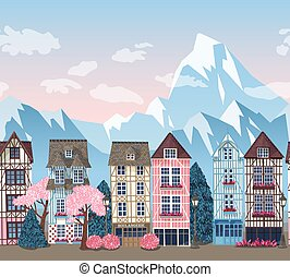 Old town with trees vector seamless border