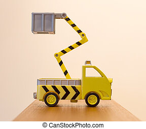 Old toy emergency truck isolated
