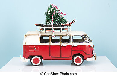 Old Toy Van with Christmas tree
