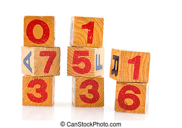 old toys as blocs ith numbers and alphabet