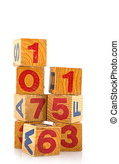 Old toys - Old  blocs with numbers and alphabet